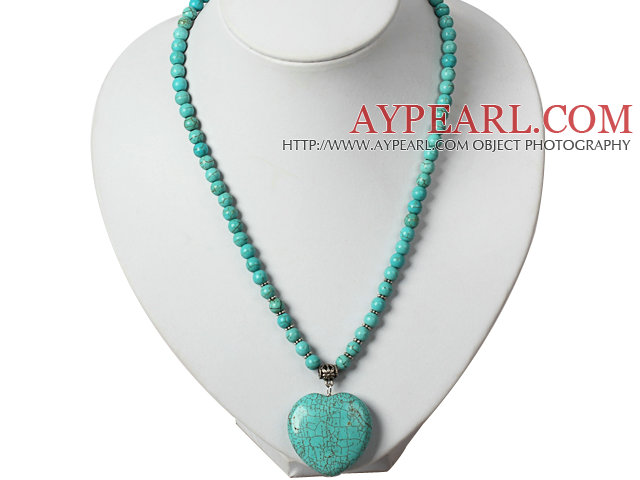 Turquoise Necklace with Heart Shape Turquoise Pendant