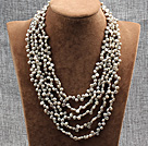 Elegant Five Layer Natural Grey Rebirth Pearl Crystal Party Necklace