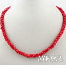 Wholesale Digital 8 Shape Red Coral Necklace with Lobster Clasp