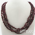 Wholesale Two Long Strands Fillet Garnet Necklace ( no clasp can be worn in different designs)