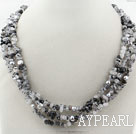 Gray Series Multi Strands Fillet Black Rutilated Quartz and Gray Freshwater Pearl Necklace