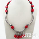 Red Coral and Carbide Stone Necklace with Tibet Silver Accesorries