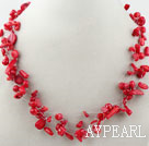 Wholesale Multi Strands Assorted Red Coral Necklace with Lobster Clasp