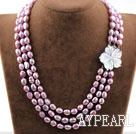 Three Strands Purple Baroque Pearl Necklace with Shell Flower Clasp