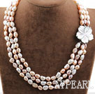 Three Strands White Pink Purple Baroque Pearl Necklace with Shell Flower Clasp