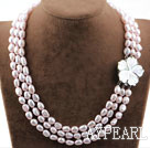 Wholesale Three Strands Baby Pink Baroque Pearl Necklace with Shell Flower Clasp