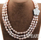 Wholesale Three Strands Natural Pink Baroque Pearl Necklace with Shell Flower Clasp