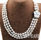 Three Strands White Baroque Pearl Necklace with Shell Flower Clasp