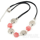 Fashion White Freshwater Pearl And Cherry Quartz Flower Caky Metal Charm Necklace With Black Cords