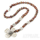 Fashion Dyed Brown Freshwater Pearl And Tibet Silver Flower Pendant Necklace