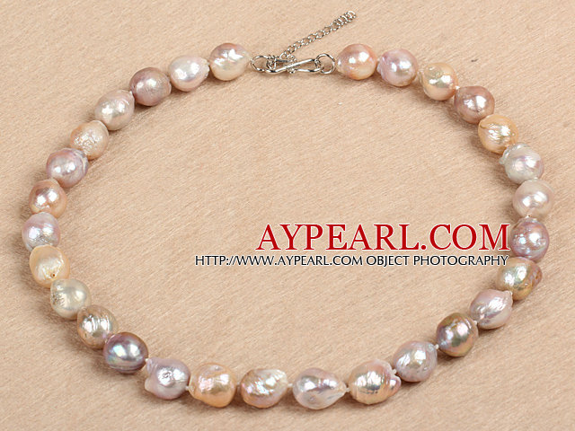 Classic Style Natural B Grade Pink Purple Nuclear Pearl Necklace