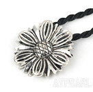 Simple Style Flower Shape Tibet Silver Pendant Necklace With Twisted Black Cord
