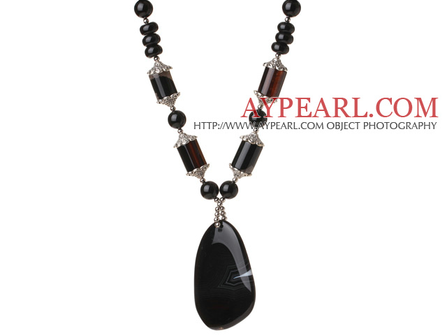 Fashion Cool Design Black Agate Beaded Necklace with Agate Pendant
