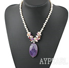 Elegant Clustered White Pink Purple Pearl Mixted Crystal And Crystallized Agate Pendant Necklace