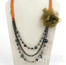 Fashion Loop Link Colorful Indian Agate Layer Necklace With Ribbon Flower