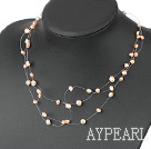 Fashion Multi Strand Natural Pink Freshwater Pearl Threaded Necklace With Lobster Clasp