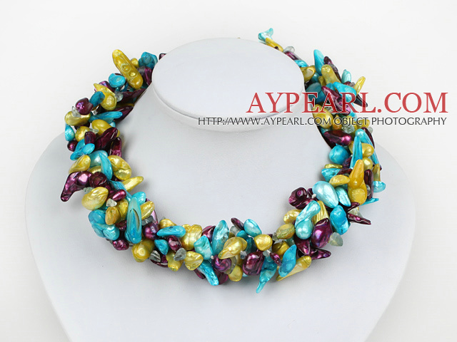 Fashion Multi Strand Pink Yellow And Sky Blue Freshwater Blister Pearl And Crystal Necklace