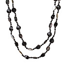 Wholesale Lont Style A Grade Black Agate Beads and Faceted Black lip Shell Necklace