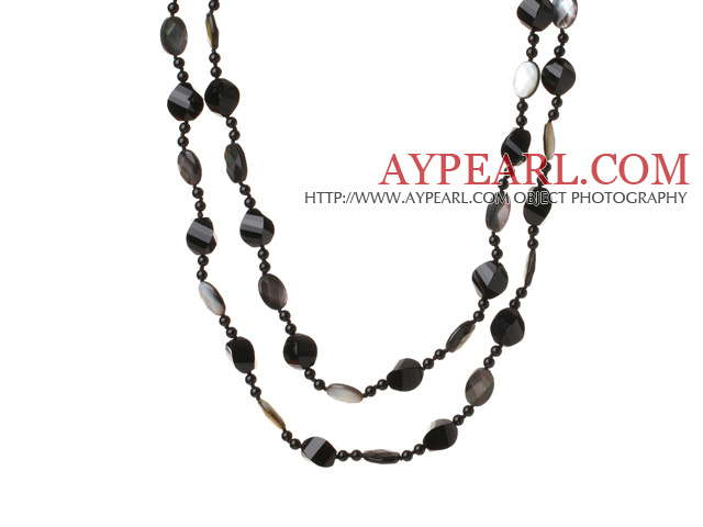 Lont Style A Grade Black Agate Beads and Faceted Black lip Shell Necklace
