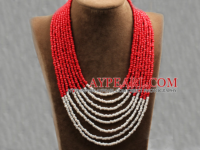Multi Strands Multi Layered 4-5mm Red and White Plastic Seed Necklace