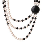 Trendy Elegant Style Three Layer Round Natural White Pearl and Black Agate Beaded Necklace
