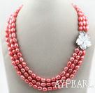 Three Strands Watermelon Red Baroque Pearl Necklace with Shell Flower Clasp