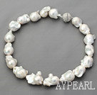 Single Strand White Big Nuclear Pearl Necklace with Magnetic Clasp