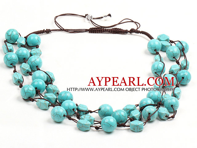 Chic Style Three Strands Blue Turquoise Drawstring Neckalce