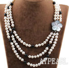 Wholesale Three Strands White Freshwater Pearl and Black Agate Necklace with Shell Flower Clasp