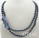 Wholesale Two Strands Black Freshwater Pearl and Blue Crystal Necklace