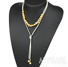 Wholesale Simple Design Yellow Freshwater Pearl Necklace with Light Yellow Cord