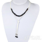 Simple Design Black Freshwater Pearl Necklace with White Cord