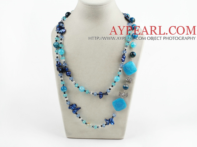 assorted blue crystal and agate long style necklace
