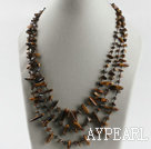 Wholesale three strand tiger eye chips necklace with lobster clasp