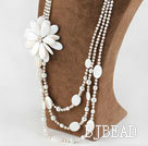 Wholesale New Design White Pearl and Big Shell Flower Bridal Necklace