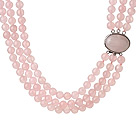 Trendy Elegant Style Three Layer Round Rose Quartz Beaded Necklace