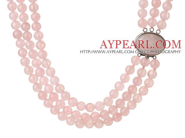 Trendy Elegant Style Three Layer Round Rose Quartz Beaded Necklace