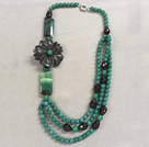 Graceful Multi Strand Green & Black Agate Flower Necklace (Flower can be a Brooch)