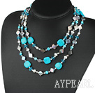 long style assorted pearl crystal and shell and gemstone necklace