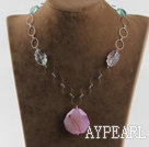 Wholesale rainbow fluorite and crystallized agate necklace