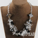 hot design white crystal and black agate necklace