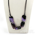 Wholesale dark purple crystallized agate stone necklace