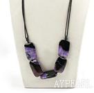 dark purple crystallized agate stone necklace