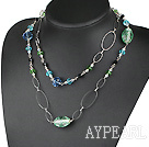 Wholesale assorted long style crystal and colored glaze necklace with metal loop