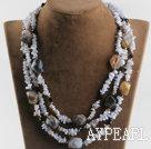 Wholesale three strand purple jade agate necklace