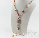 Beautiful Natural Color Multi Agate And Tibet Silver Charm Y Shape Pendant Necklace