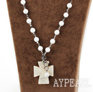 White Sea Shell and Gray Silver Color Crystal and Howlite Cross Pendant Necklace