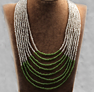 Classic Design Oval Shape Crazy Agate Knotted Graduated Necklace