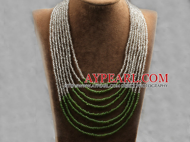 Multi Strands Multi Layered 4-5mm White and Green Plastic Seed Necklace