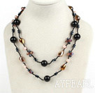 Wholesale Long Style Black Agate and Crystal Necklace